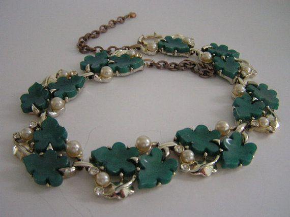 green leaf vintage necklace by LaVintageByMissPJ55 on Etsy, Thermaset jewelry