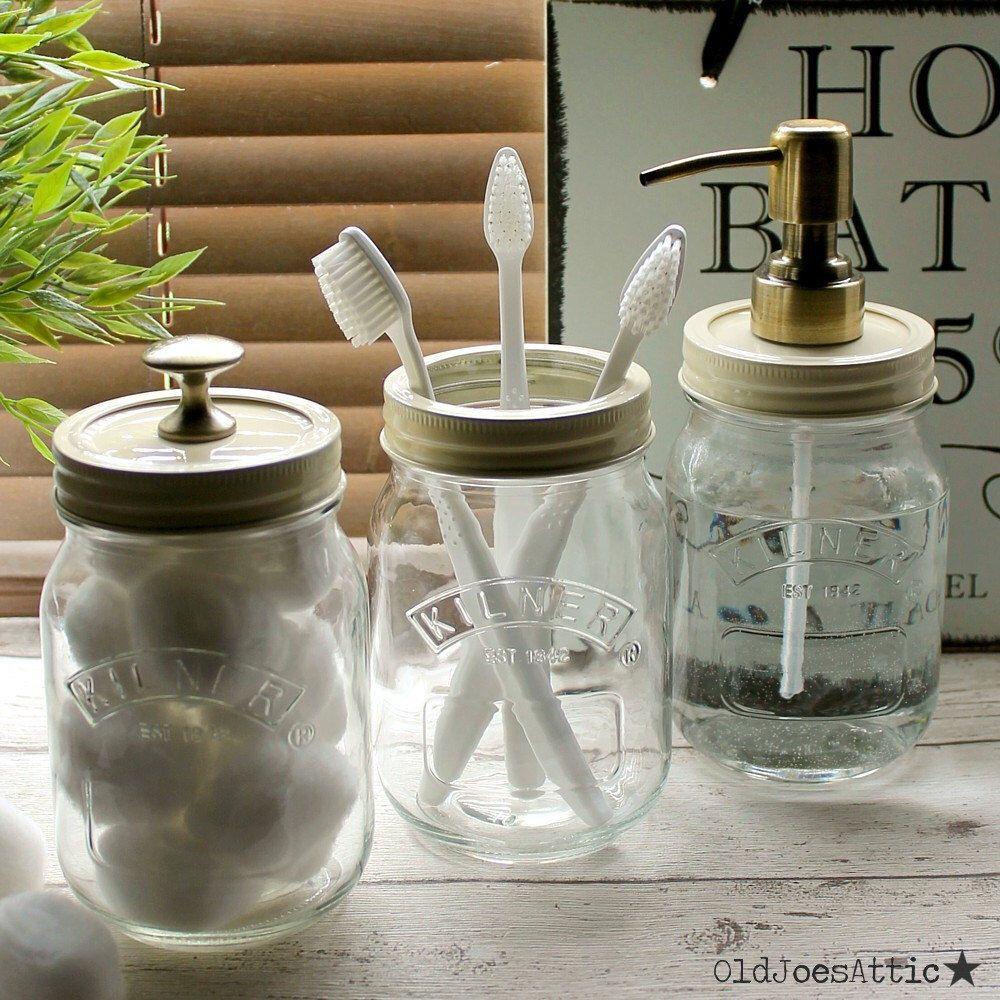 Kilner Mason Jar Country Style Bathroom Accessory Set with Antique
