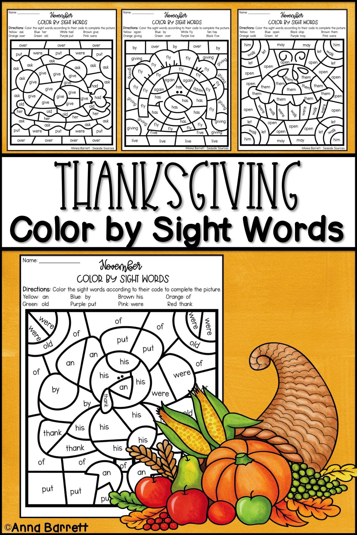 Thanksgiving Color by Sight Word | Sight word coloring ...