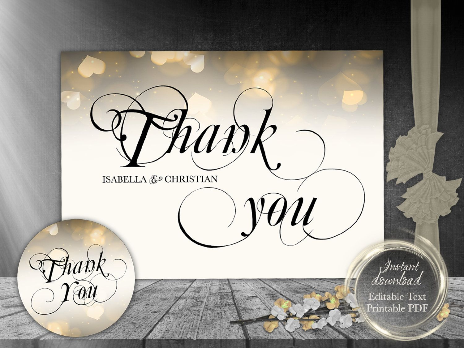Gold Wedding Thank You Card, Tags Instant Download Editable File ...