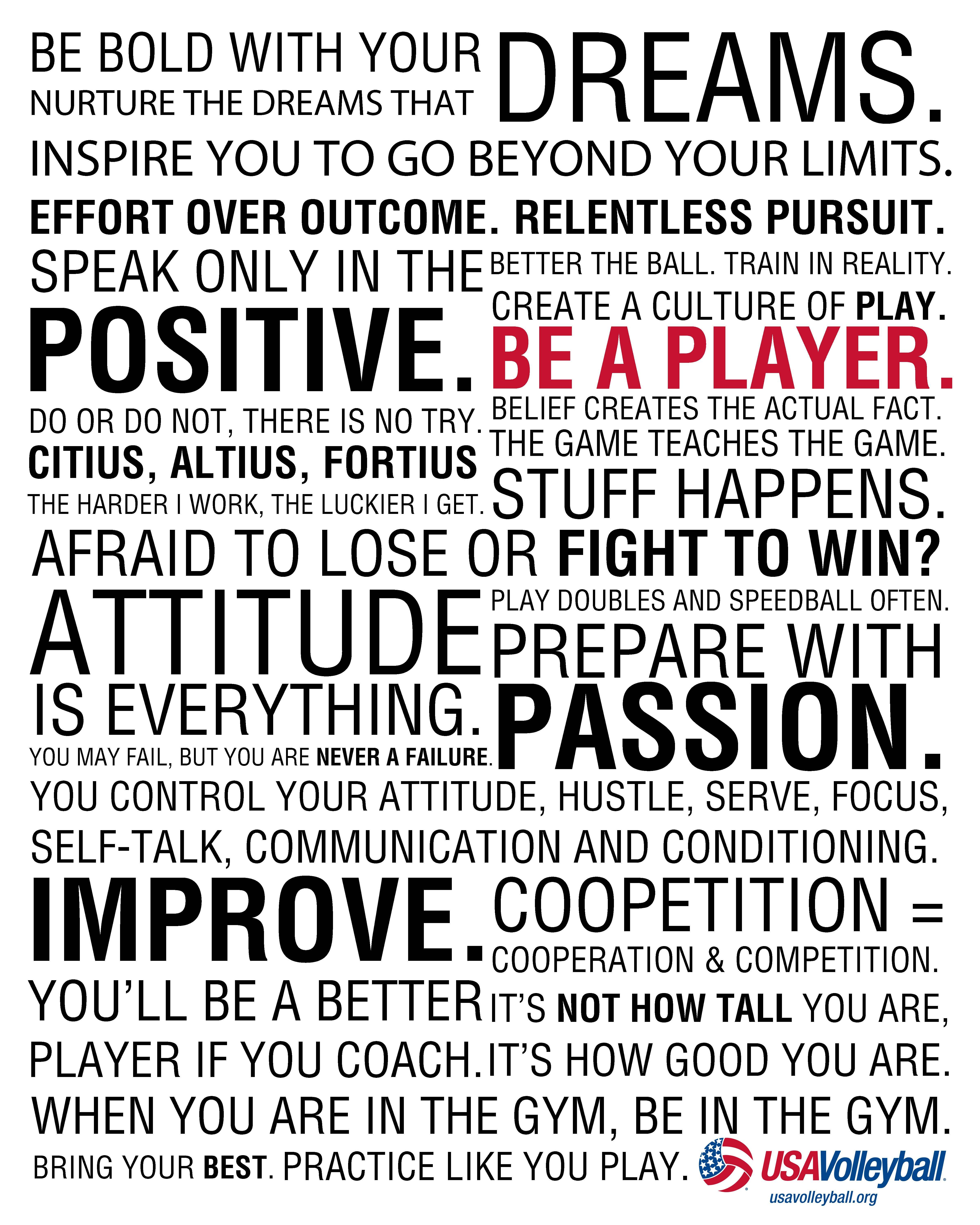Be bold with your dreams    the usa volleyball player manifesto