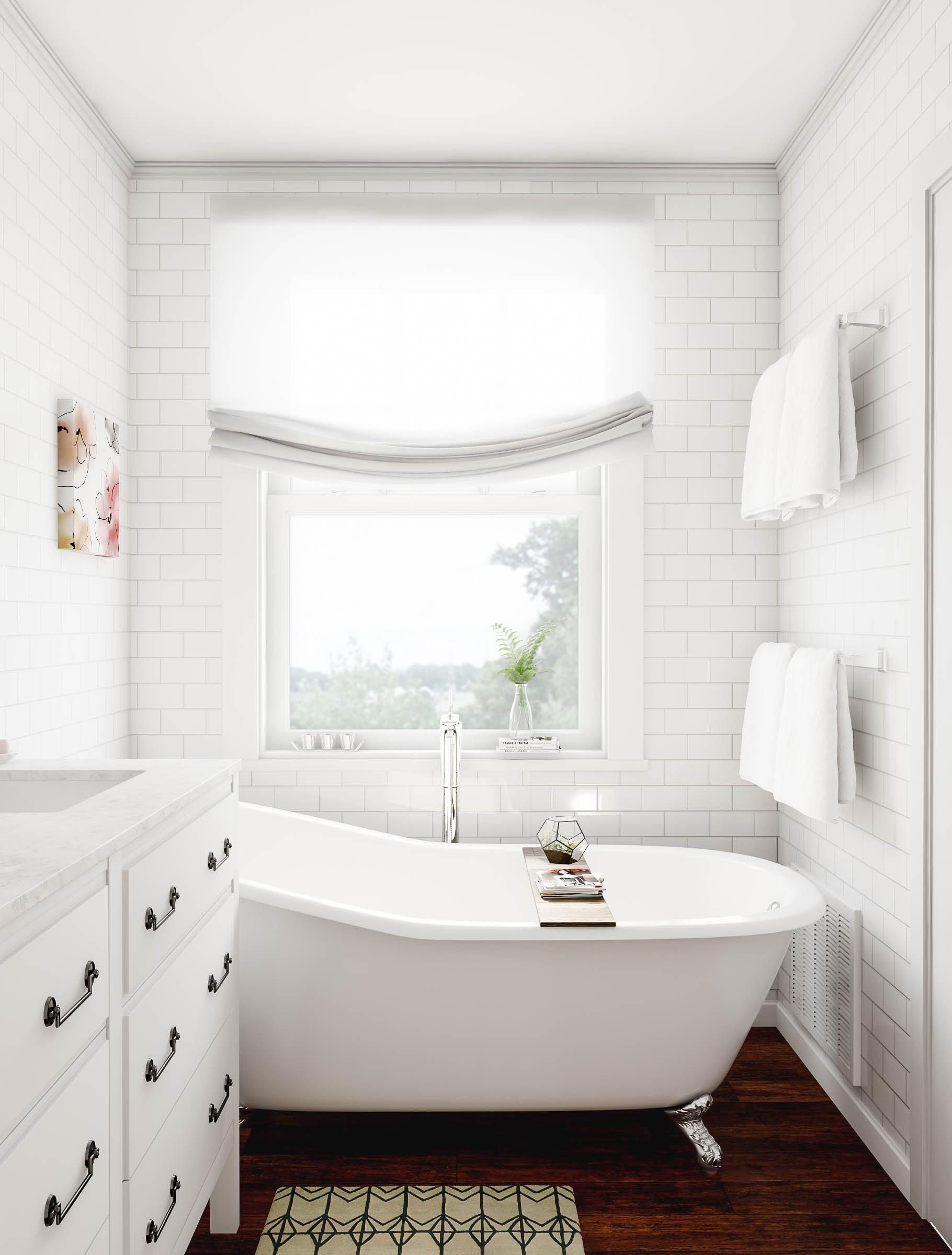 Designate the bathroom your private sanctuary When the finished product is this good the remodel is a joy Snap engineered bamboo flooring into place and