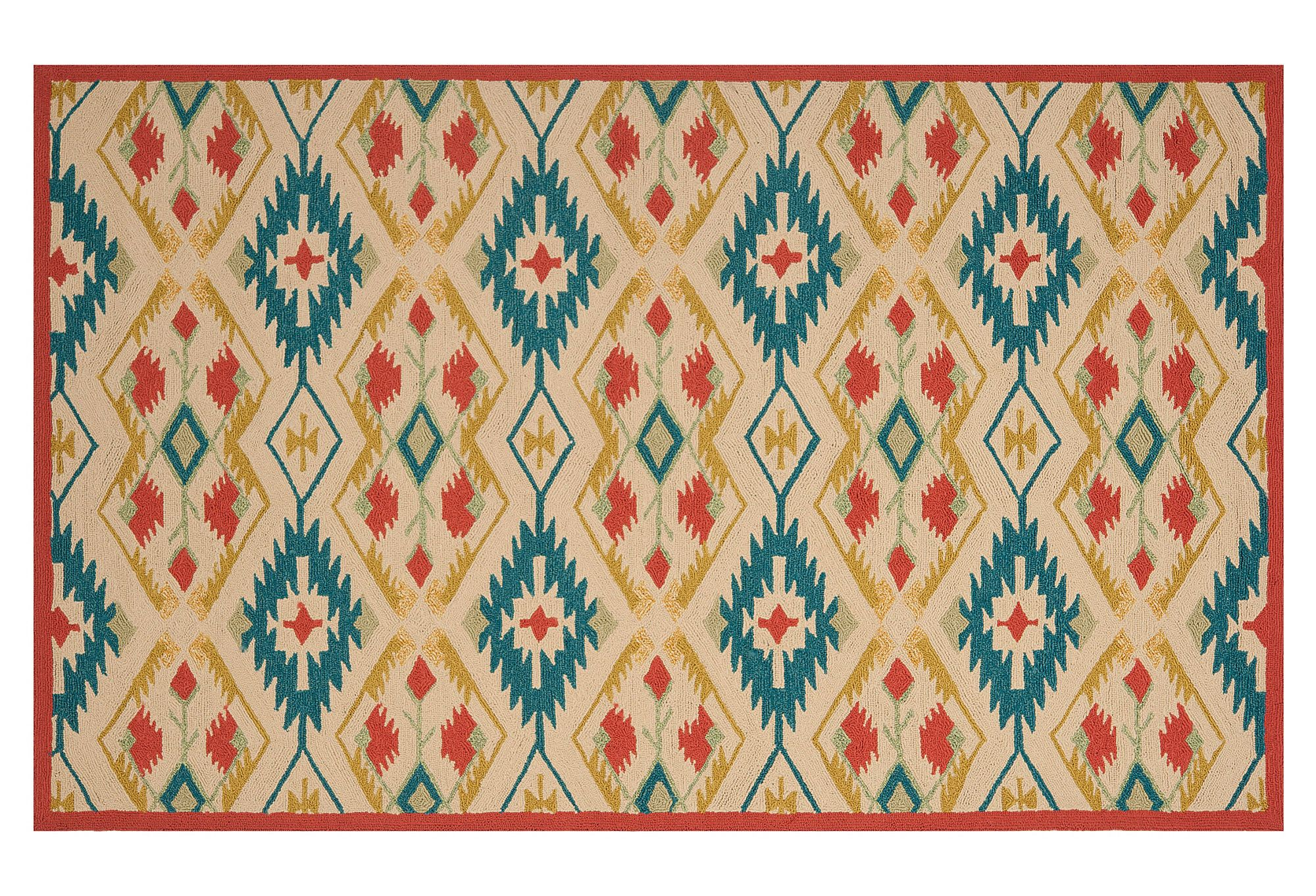 One Kings Lane Styles For All Numi Outdoor Rug Tan Teal Red