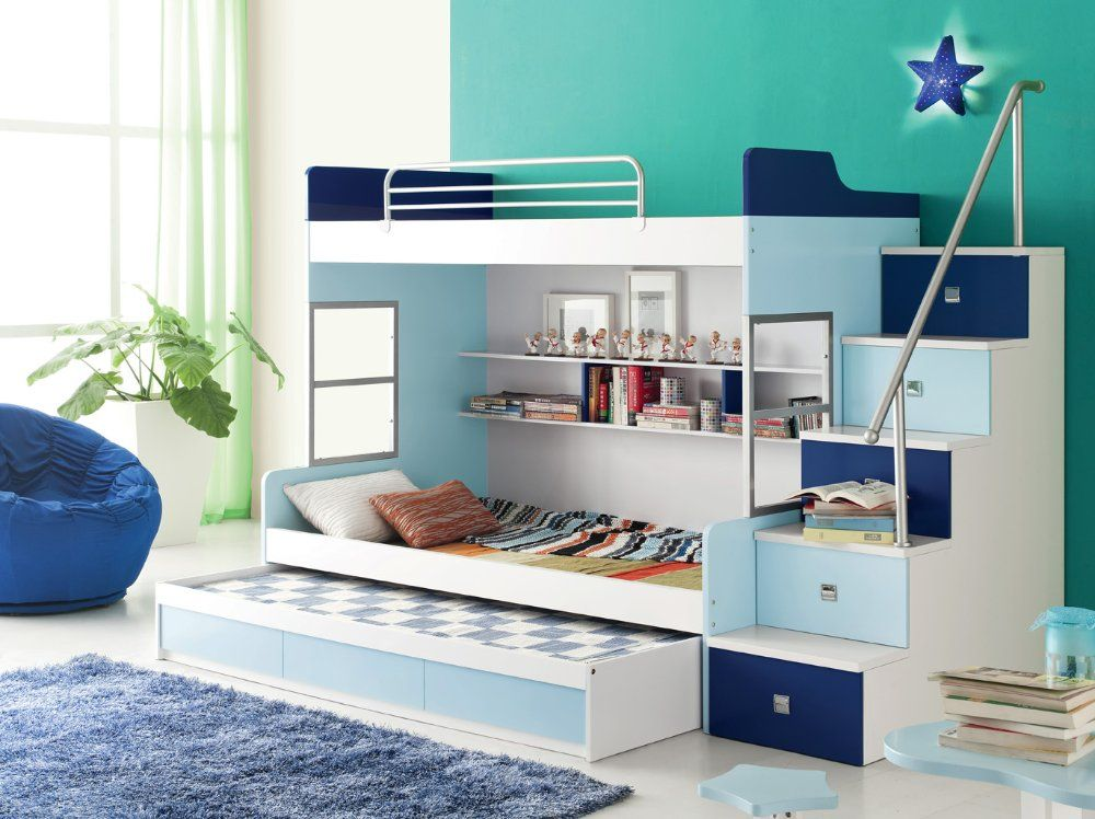 Childrens Bunk Beds children room set furniture - b-03 bunk bed series: dark blue