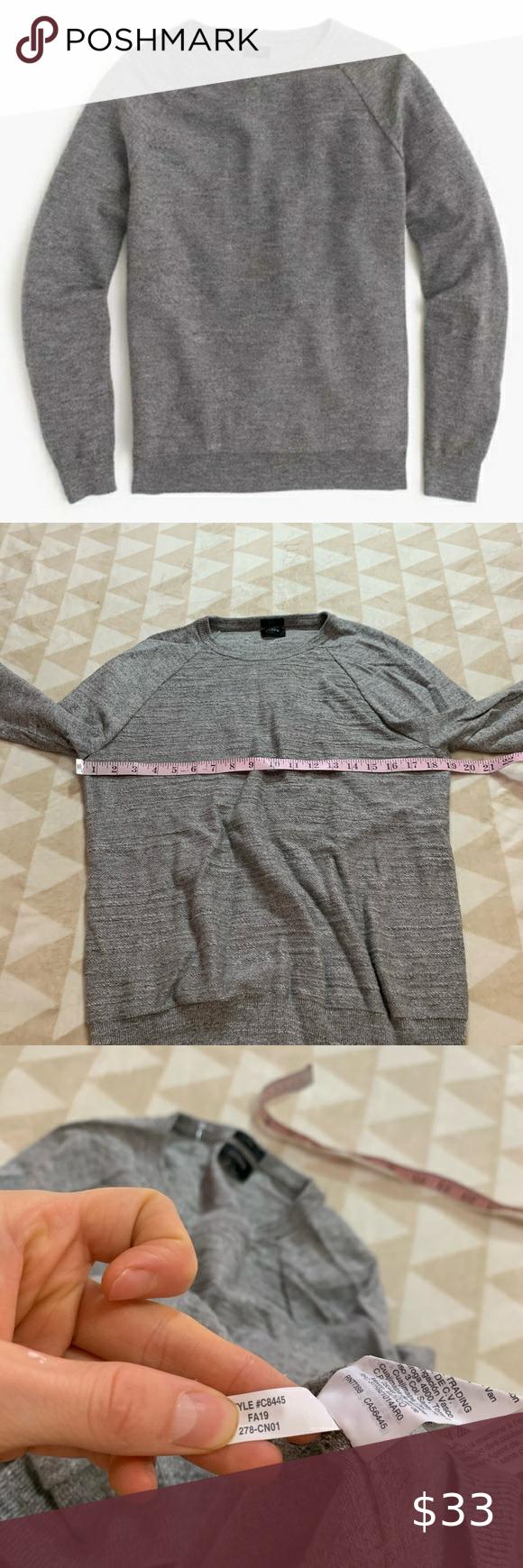 J crew gray rugged cotton sweater slim crewneck J