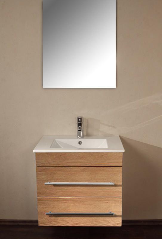Unterschrank Milet eiche hell ohne Waschbecken - badezimmer waschbecken mit unterschrank