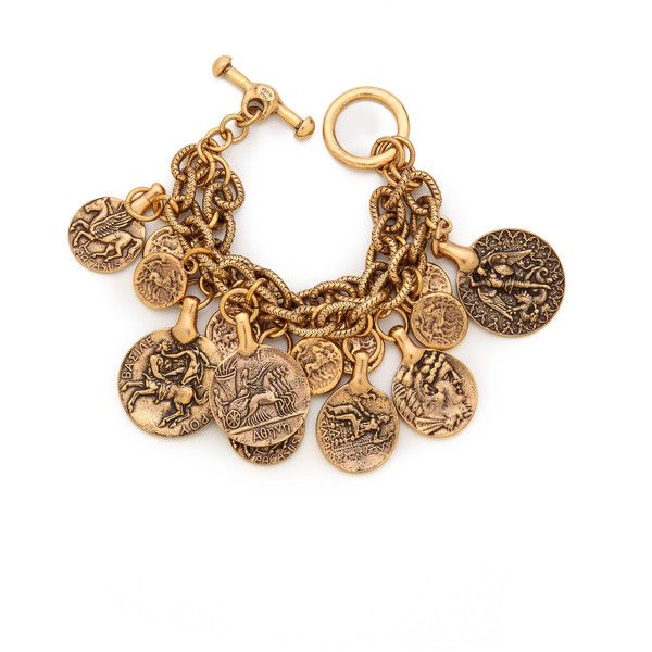Oscar De La Renta Coin Bracelet - Russian Gold ($118) ❤ liked on Polyvore featuring jewelry, bracelets, accessories, gold coin charm, gold jewelry, yellow gold bangle, gold charms and gold bangles