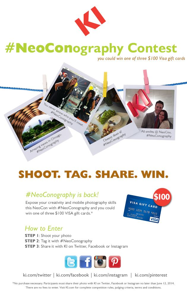 #NeoConography is back for #NeoCon14! Shoot. Tag. Share. Win! Simply shoot and tag your @NeoCon 2012 2014 photos with the #NeoConography hashtag for your chance to win one of three $100 VISA gift cards!