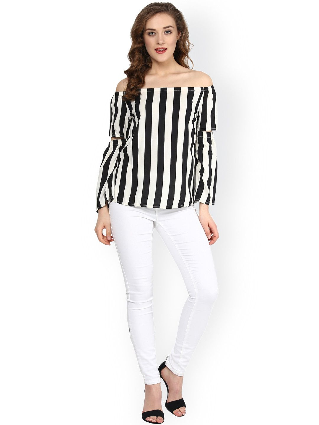 90bbbf388d4acd SASSAFRAS Black & White Striped Off-Shoulder Top | Girlee Top ...