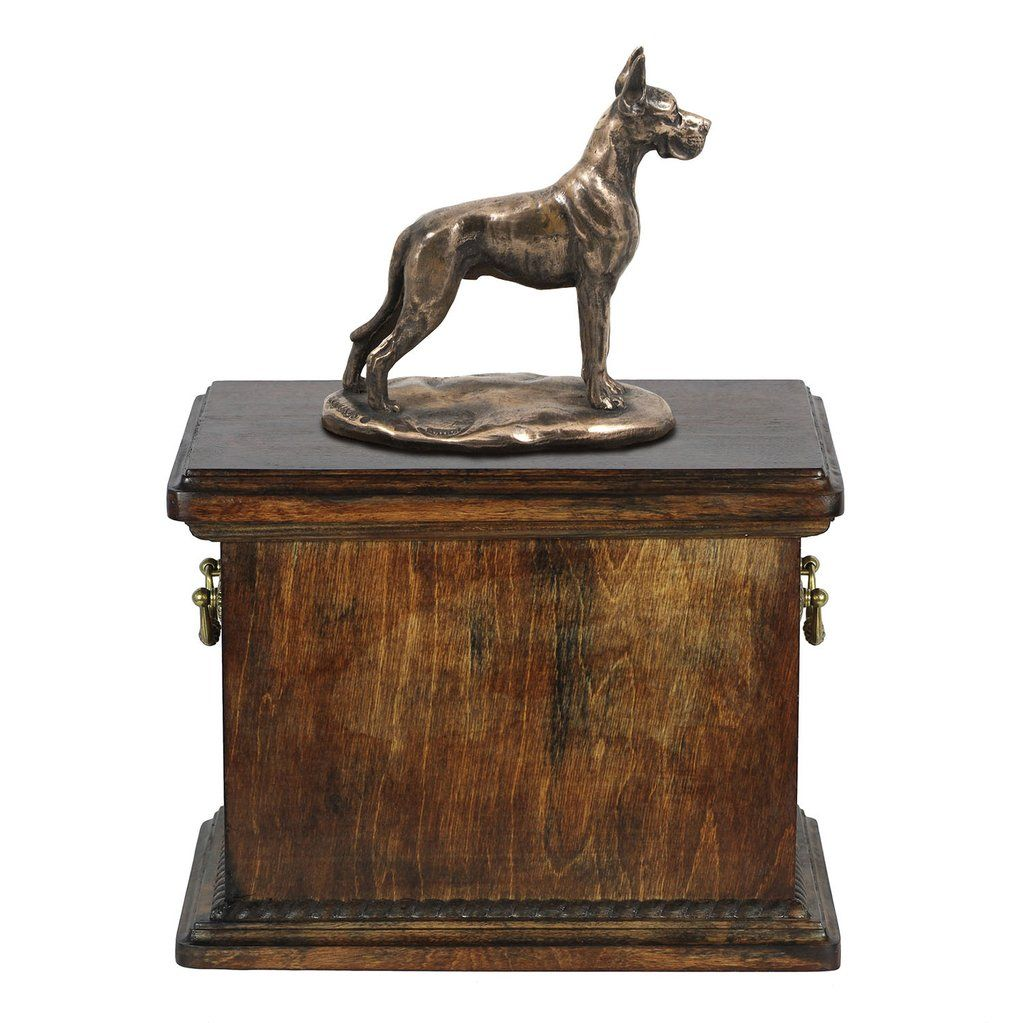 Solid Wood Casket Great Dane Cropped Dog Urn For Dog S Ashes With
