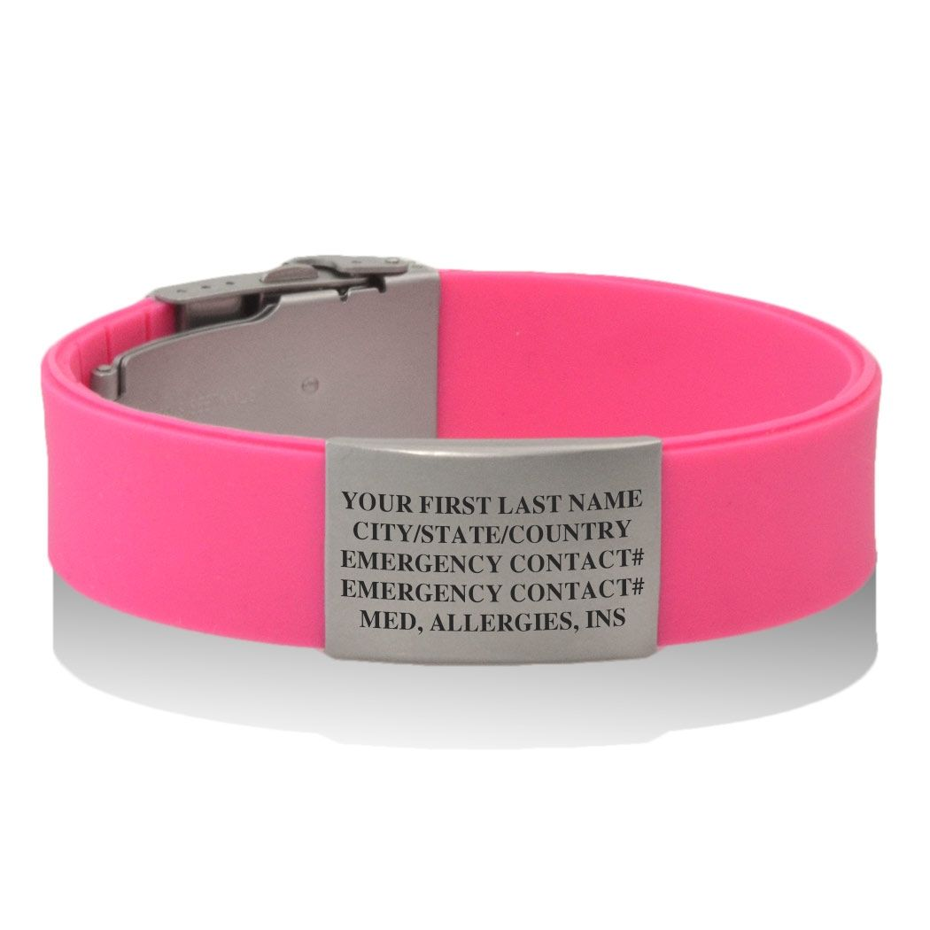 Premier Silicone Idmeband Bracelet Runners Id Pink