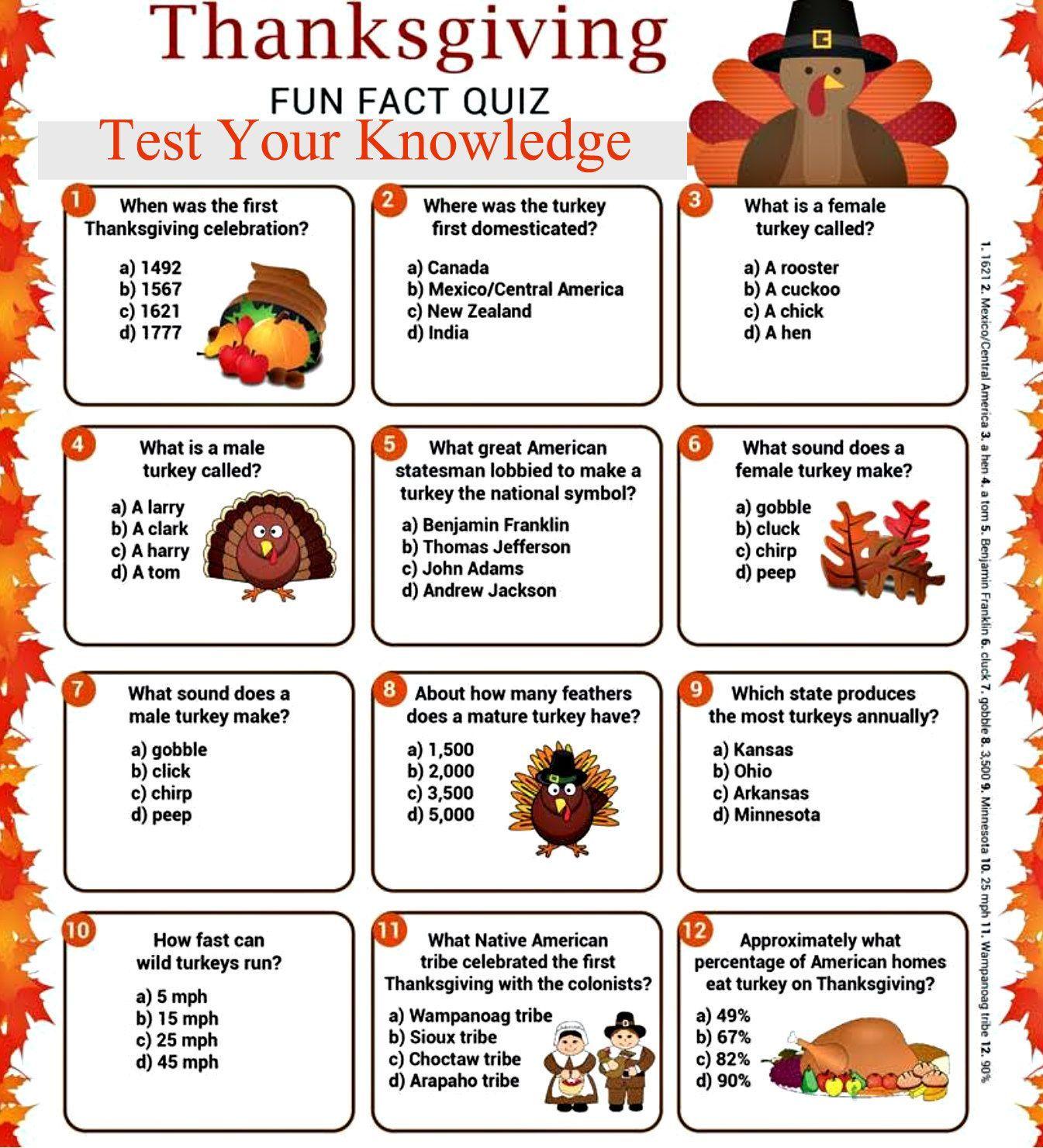 Happy Thanksgiving Trivia 2018 Thanksgiving Trivia