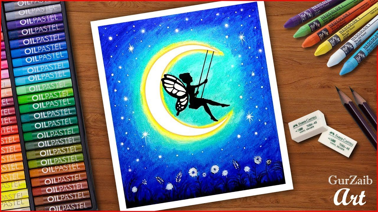 How To Draw A Fairy Sitting On Moon Swing Very Easy Step
