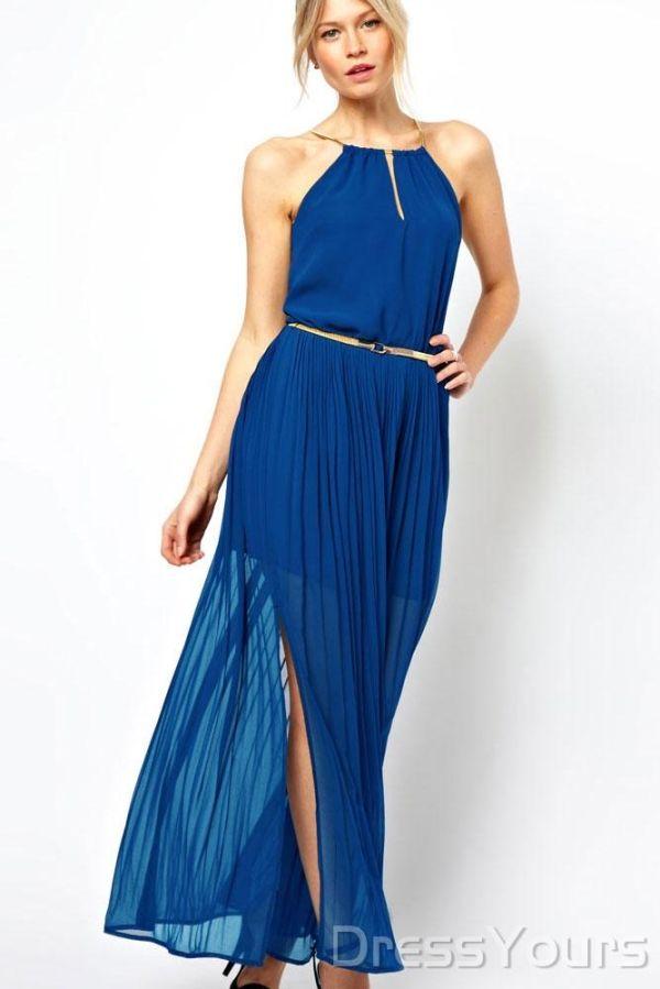 Maxi Dress With Gold Chain Blue  I really want that dress TT^TT