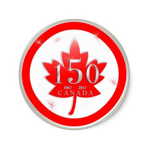 Happy birthday canada 150th celebration maple leaf classic round sticker