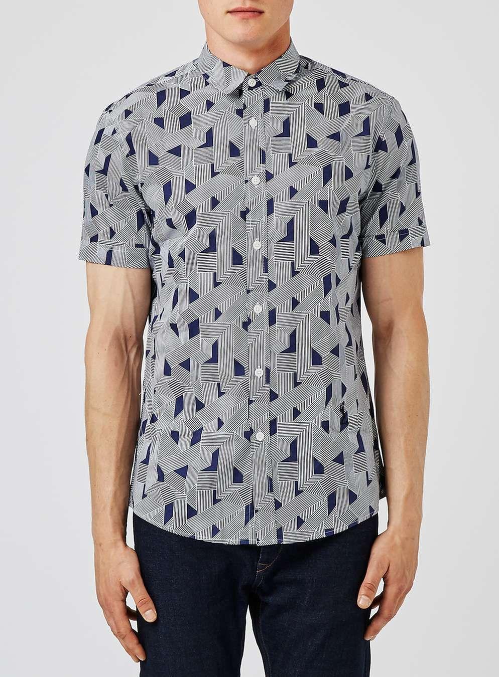 RELIGION Blue Geo Print Short Sleeve Shirt