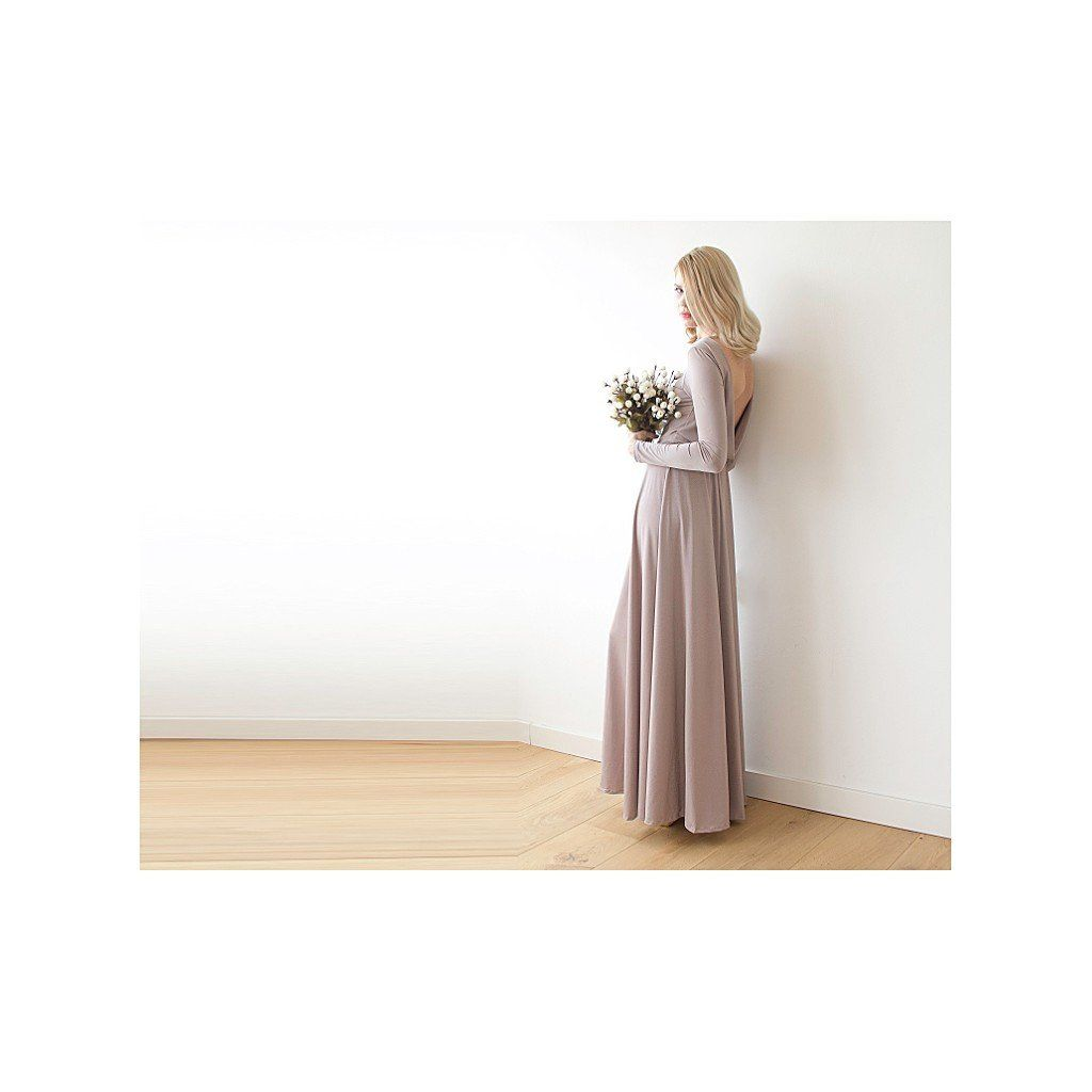Maxi dark taupe dress open back maxi dress cowl back dress long