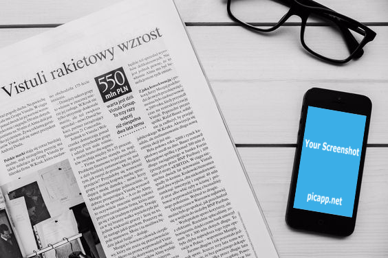 Black iPhone on a table next to a newspaper and glasses. You can customize your screenshot on this photo for free on PicApp.net and then download it easily. #iphone #blackandwhite #freetime