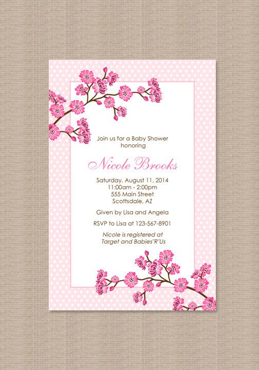 Cherry blossom baby shower invitation girl baby shower invitation cherry blossom baby shower invitation by honeyprint on etsy 1500 filmwisefo