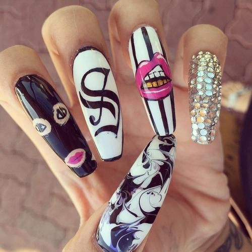 image on We Heart It. Long Nail DesignsGhetto ... - Suley (@Suleeeeey) Twitter NAILS Pinterest Twitter, Dope