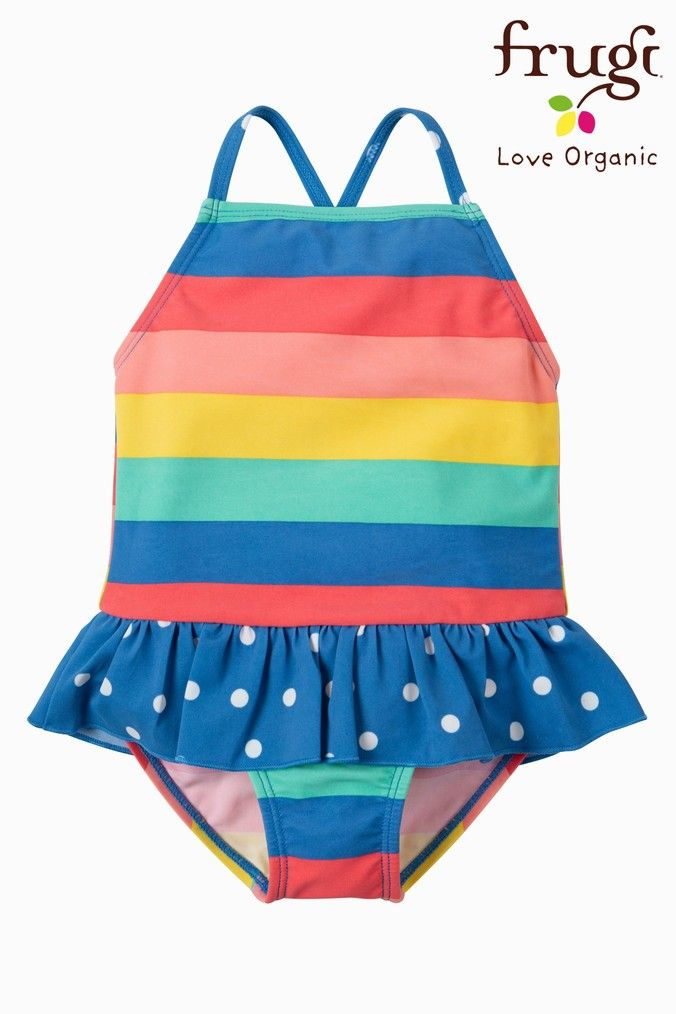 cbbb835a23 Girls Frugi Organic Oeko-Tex Rainbow Swimsuit - Pink in 2019 ...