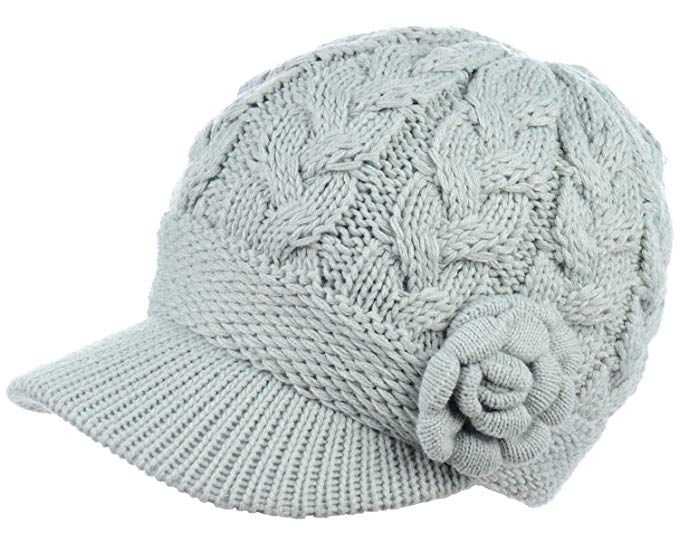 4eebfb373ae Womens Winter Elegant Cable Flower Knitted Newsboy Cabbie Cap Beret Beanie  Hat with Visor