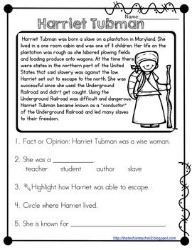 graphic relating to Harriet Tubman Printable Worksheets named Harriet Tubman Studying Webpage Social Scientific studies Looking through