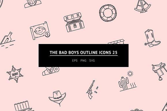 The Bad Boys Outline Icons 25 Law Icon Icon Buy Icon