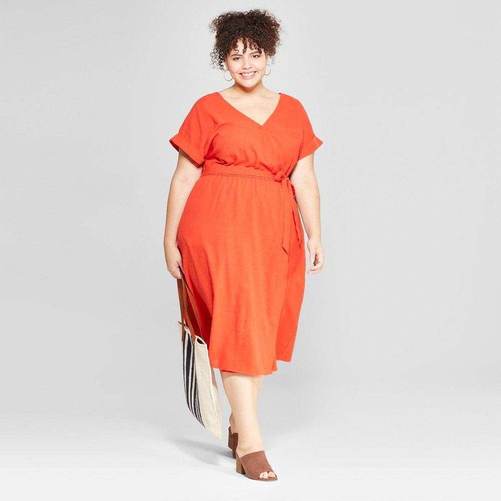 Women\'s Plus Size V-Neck Dress - Universal Thread Orange 4X ...