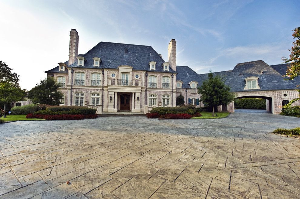 Elegant mansion with stone cladding and lovely facade for French chateau style homes for sale