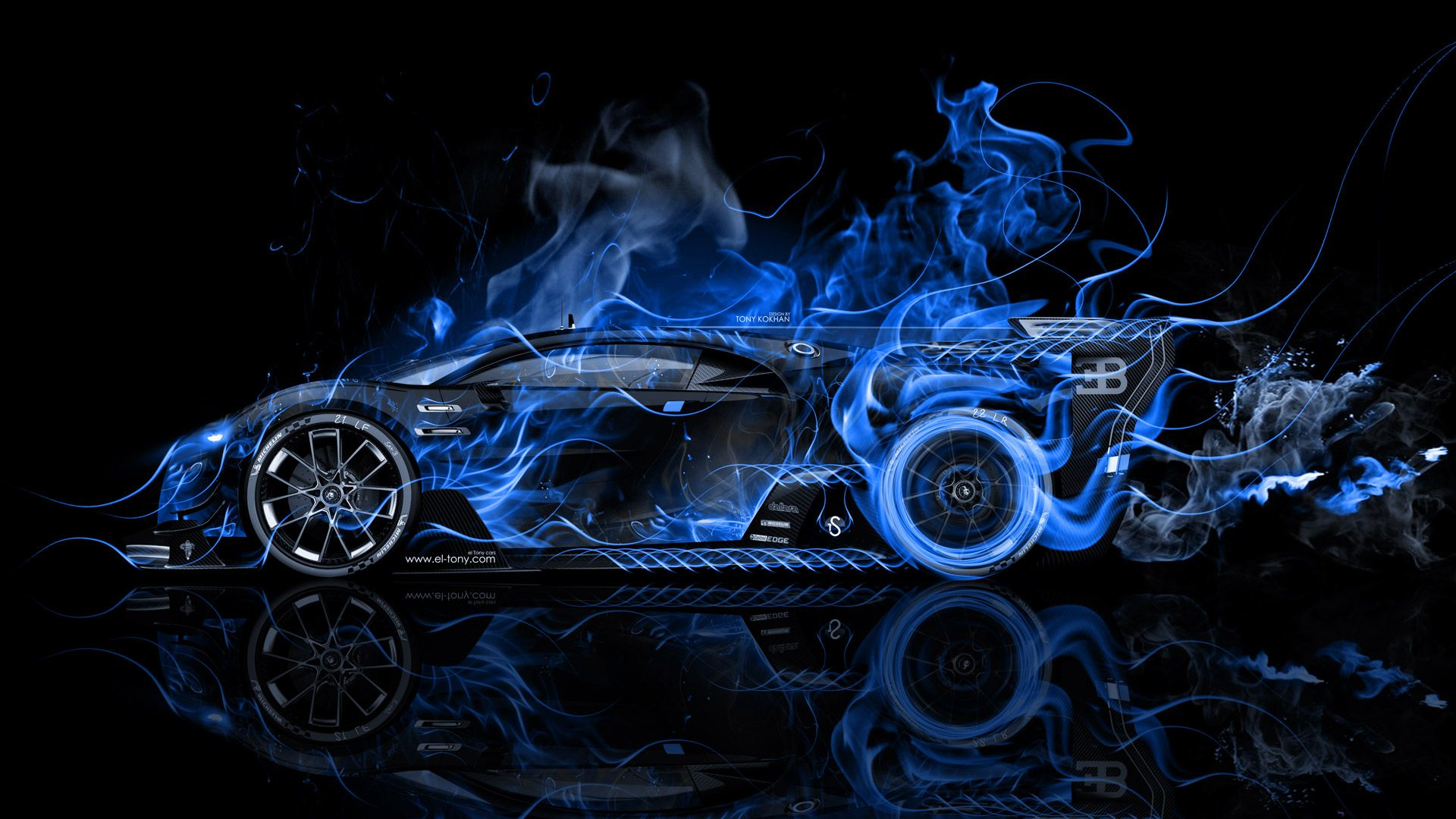 Merveilleux Bugatti Vision Gran Turismo Side Super Fire Flame