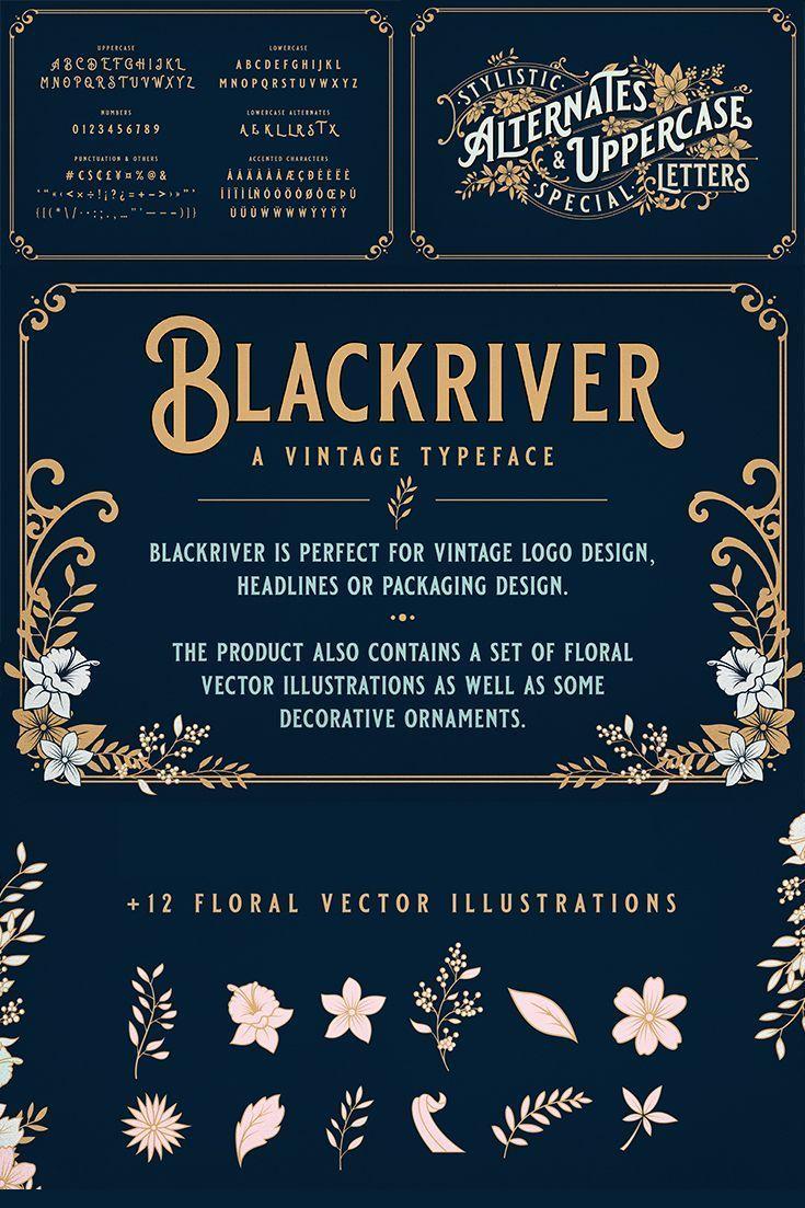 Blackriver Font + Ornaments in 2020 Vintage logo design