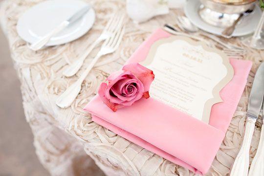 Pam Scott Photography via CeremonyBlog.com Gorgeous menus from J. Grace.