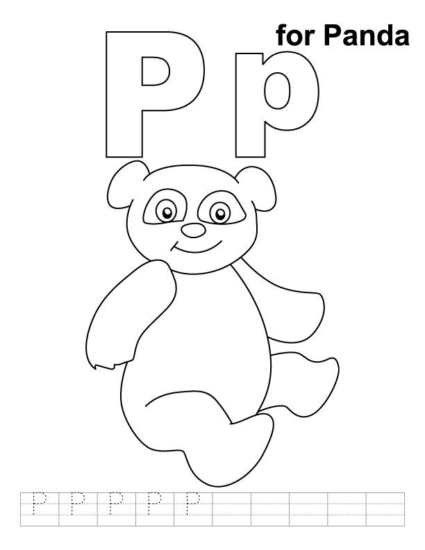 P For Panda Kids Handwriting Practice Alphabet Coloring Pages