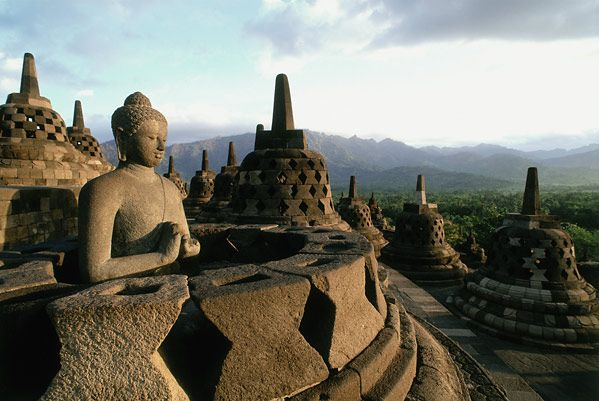 Borobudur, the world's largest Buddhist monument, is located in Indonesia in central Java.