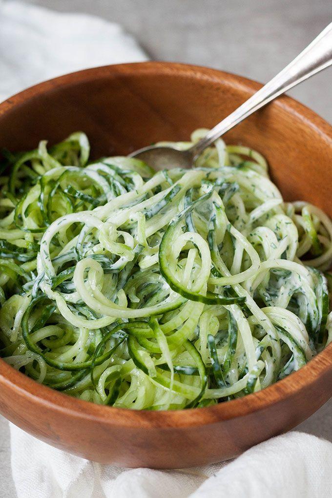 5-Minuten Gurken-Spaghetti mit Joghurt, Zitrone und Dill #vegetariangrilling