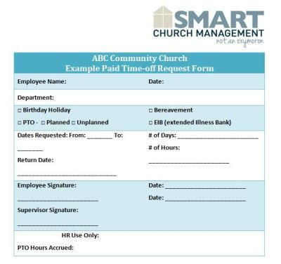 Example Paid Time Off Form  Church Offering Count Sheet