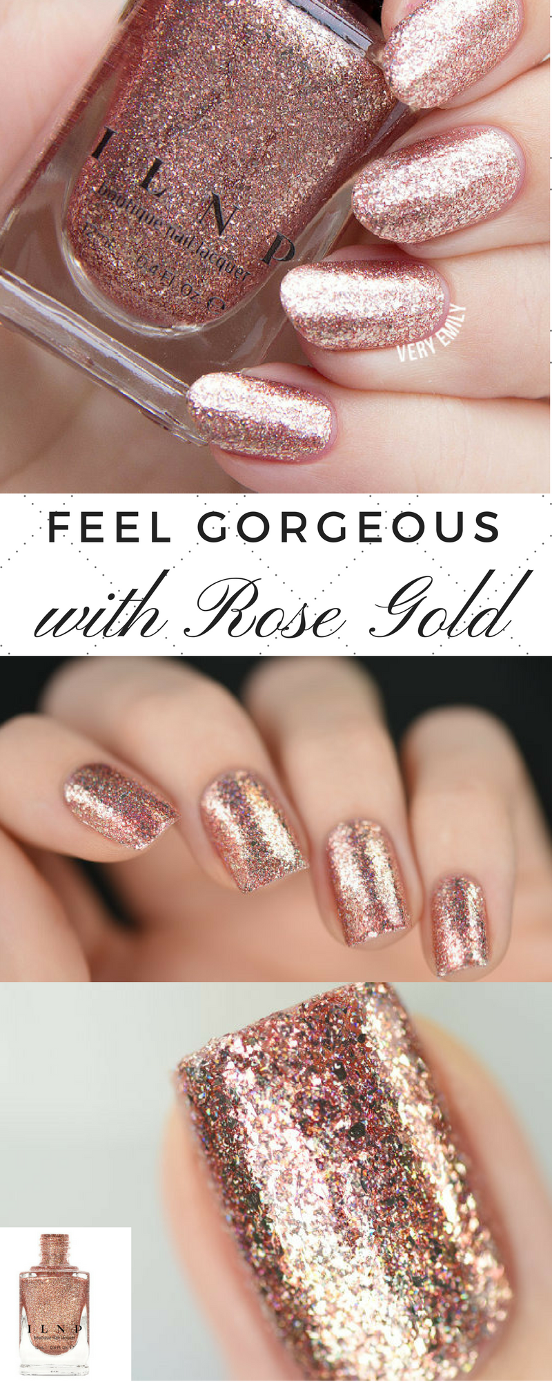 This Juliette Rose Gold Holographic nail polish is absolutely ...
