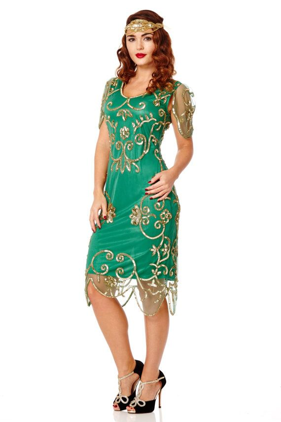 Plus Size Rosemary Emerald Green Dress 20s inspired Flapper ...