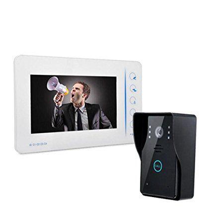 L\R Sonnette vidéo étanche 7 pouces filaire numérique HD vidéo