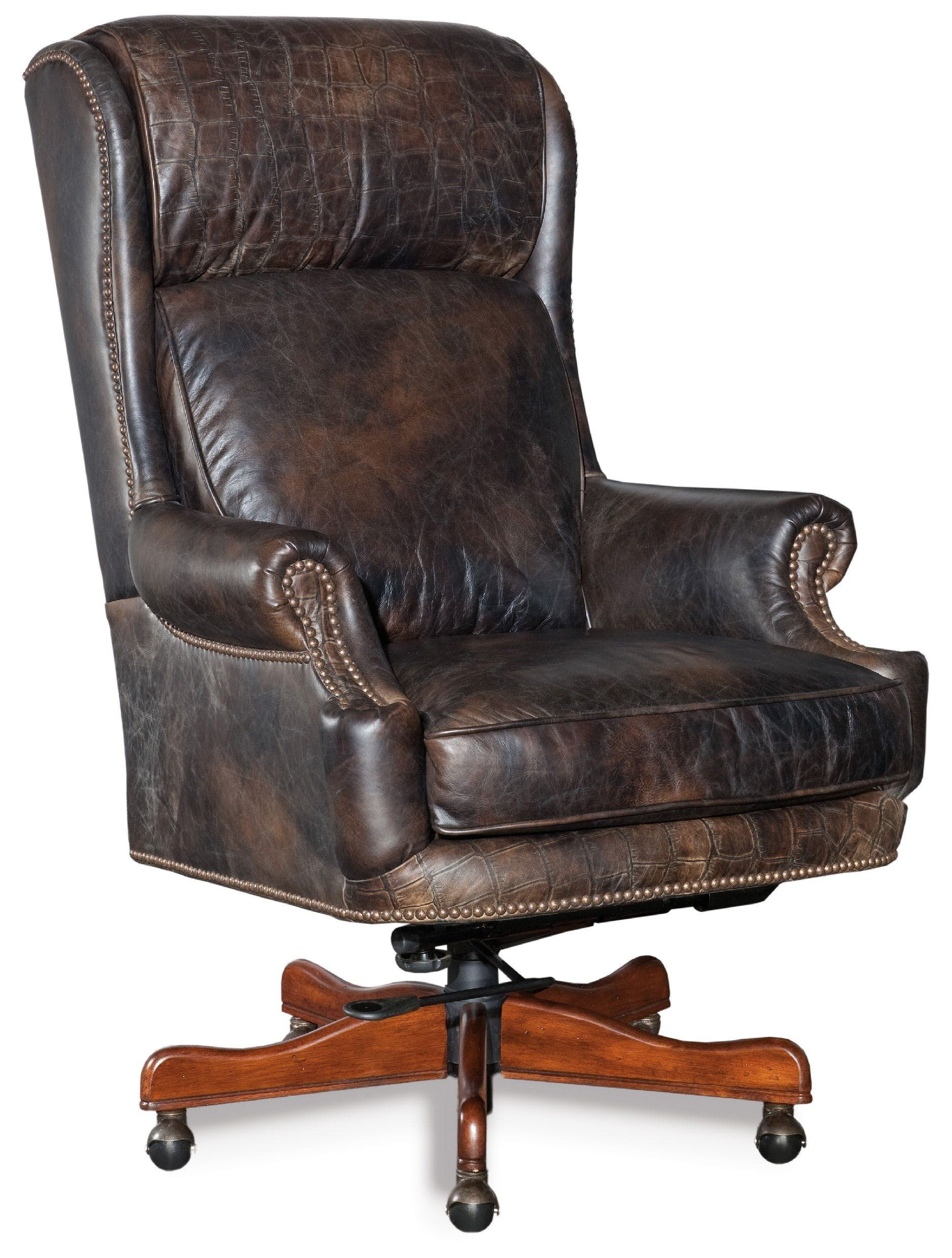 brown leather office chairs. Hooker Furniture Tucker Executive Swivel Tilt Chair, Brown Leather Office Chairs