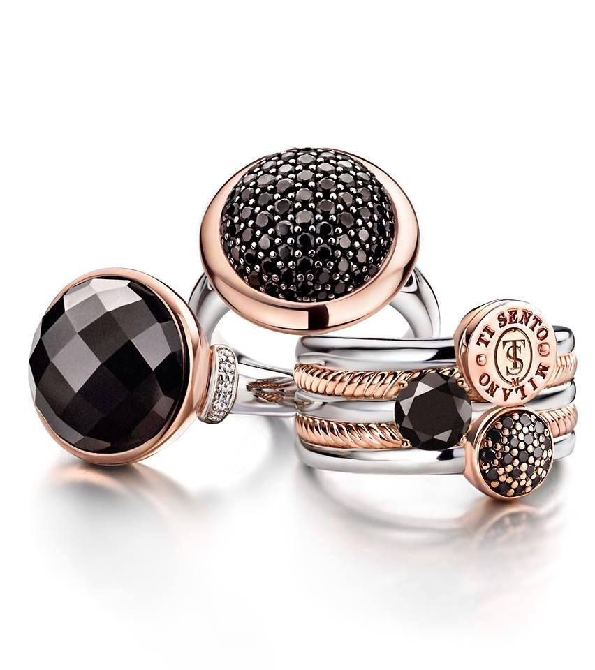 The Silver and Rose Gold with black stone rings from Ti Sento are