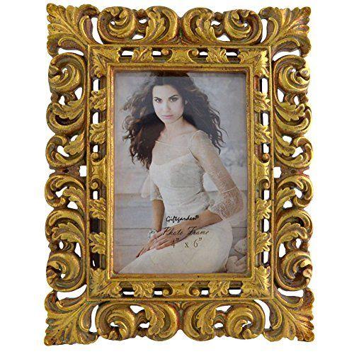Amazon De Giftgarden 10x15 Bilderrahmen Antiker Stil Barock Dekorahmen Golden Frame Picture Frames Gold Picture Frames