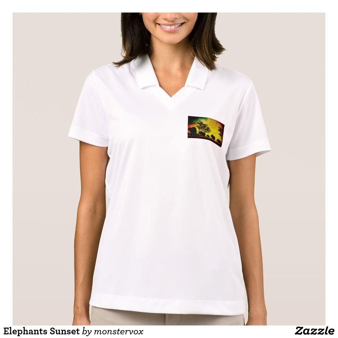 Elephants Sunset Polo Shirt My Zazzle Products At Zazzle