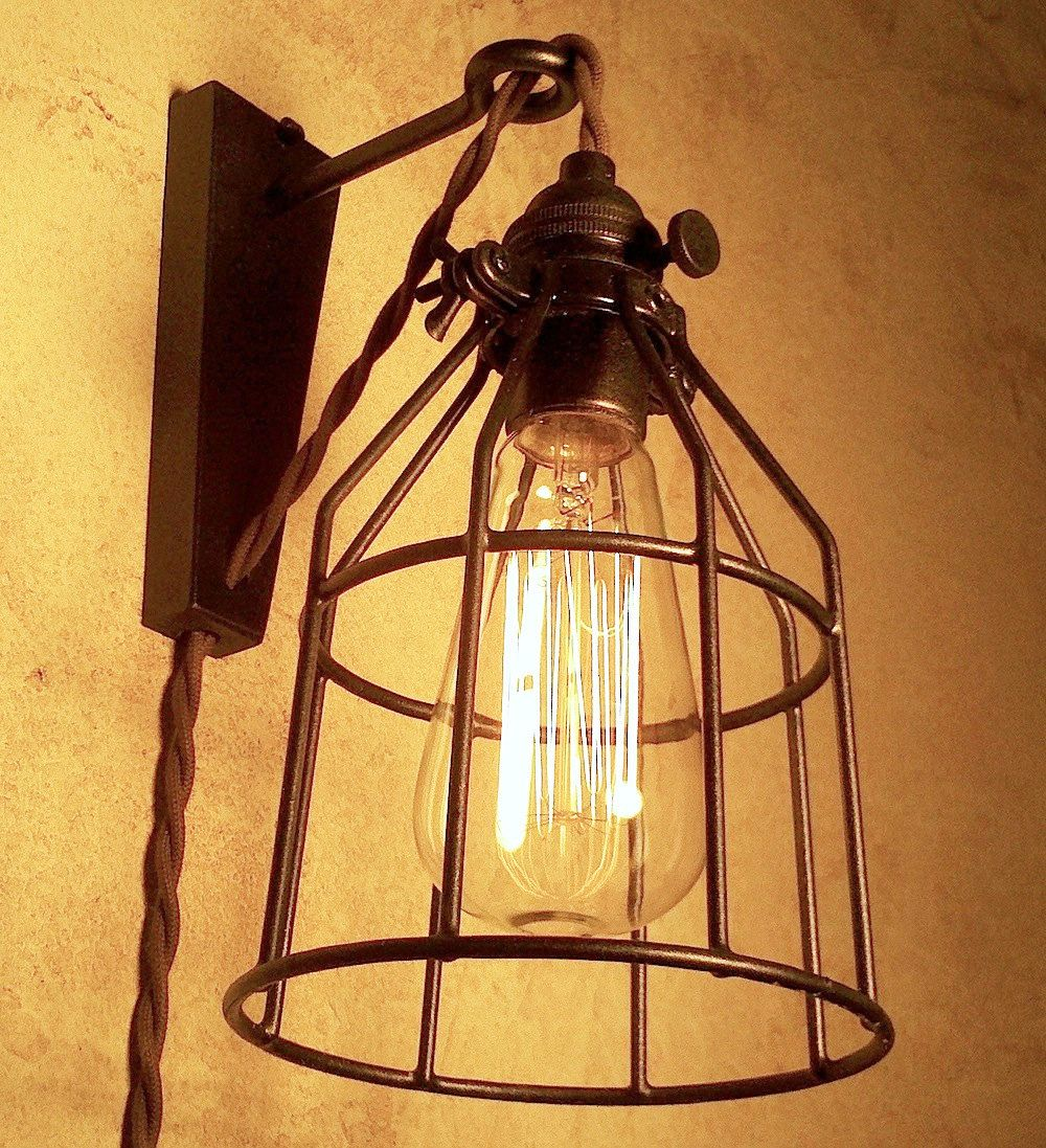 Hanging Industrial Pendant Wall Sconce with Steel Cage. Retro Edison ...