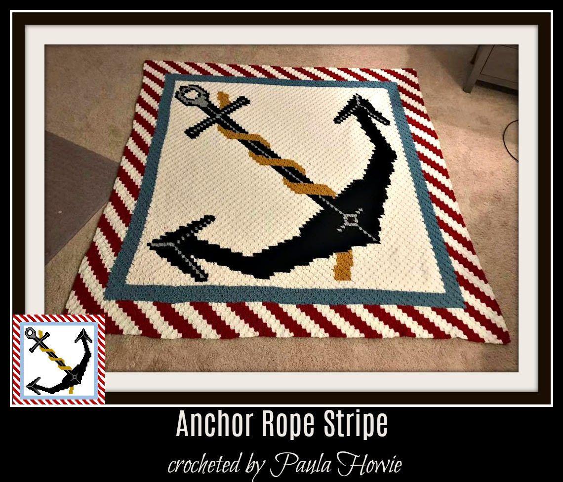 Anchor Queen Size C2c Graph With Word Chart Crochet Pinterest