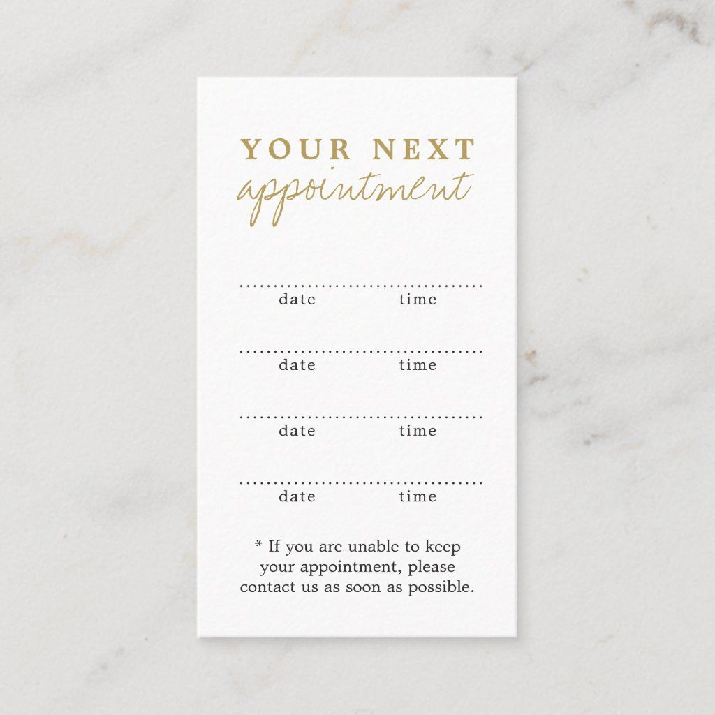 Simple Elegant White Gold Beauty Appointment Card Zazzle