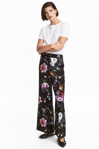 82766b0271d73 Wide-leg Pants - Black floral - Ladies