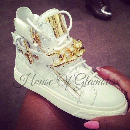White or black Giuseppe Zanotti chain sneakers (flats).  Material: genuine leather Features: Breathable, Height Increasing, Massage, Waterproof Free shipping worldwide :)