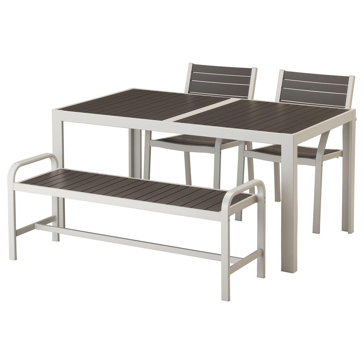 SJÄLLAND, Tisch+2 Armlehnstühle+Bank/außen, dunkelgrau Jetzt ...